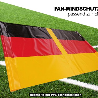 Rückseite mit PVC Stangentaschen / Fan-Windschutz EM 2016